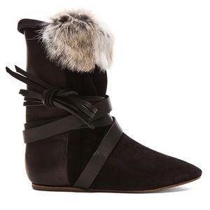 ISABEL MARANT Nira Couture Calfskin Boots W/Fur 10